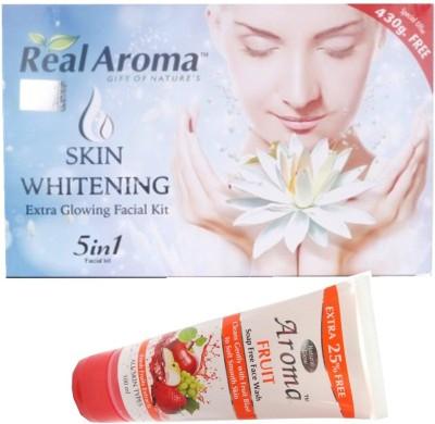 BIGSALE786 Real Aroma Skin Whitning Facial Kit 5 in 1 Free Asta Berry Skin Whitning Face Wash 740 g