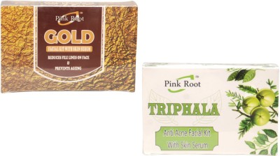 Pink Root Gold Facial Kit,Triphala Facial Kit 140 g