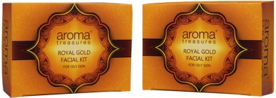 Aroma Treasures Royal gold facial kit for oily skin - single time use (pack of 2) 80 g