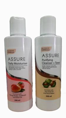 Assure Natural Clear (Cleanser + Toner) & Moisturising Lotion 400 ml