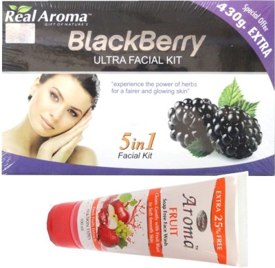 BIGSALE786 Real Aroma Black Berry Ultra Facial Kit 5 in 1 Free Asta Berry Skin Whitning Face Wash 740 g