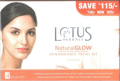 Lotus Natural Glow Skin Radiance Facial Kit(Set of 4)
