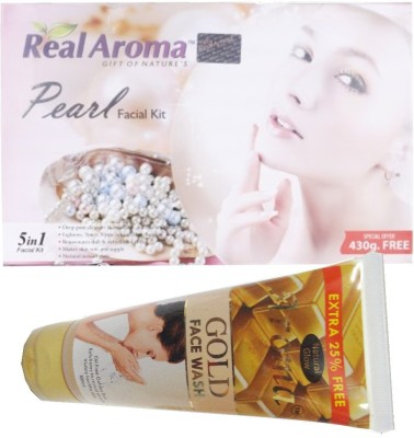 BIGSALE786 Real Aroma Pearl Facial Kit 5 in 1 Free Aroma Gold Face Wash 740 g