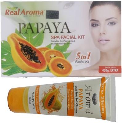 BIGSALE786 Real Aroma Papaya Spa Facial Kit 5 in 1 Free Aroma Papaya Soap Free Face Wash 740 g