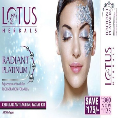 Lotus Radiant Platinum Cellular Anti-Ageing Facial Kit 148 g(Set of 4)