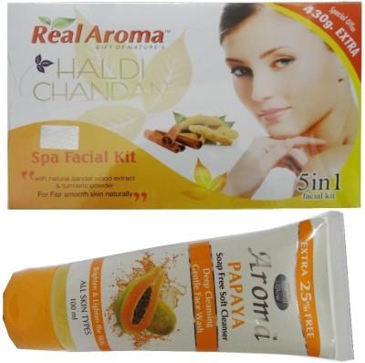 BIGSALE786 Real Aroma Haldi Chandan Spa Facial Kit 5 in 1 Free Aroma Papaya Soap Free Face Wash 740 g