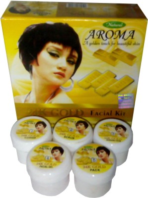 KASCN LUMINOUS AND RADIANT COMPLEXION GOLD FACIAL KIT FROM AROMA IN PACK OF 5 250 g
