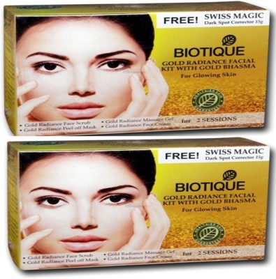 Biotique Gold Rediance Facial Kit With Gold Bhasma Pack of 2(Set of 4) 120 g