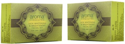 Aroma Treasures Skin whitening and brightening facial kit for dry skin - single time use (pack of 2) 80 g