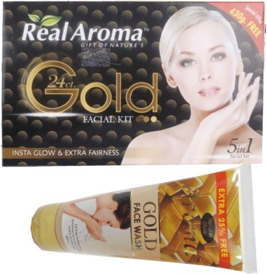 Bigsale786 Real Aroma 24Ct Gold Facial Kit 5 in 1 Free Aroma Gold Face Wash 740 g