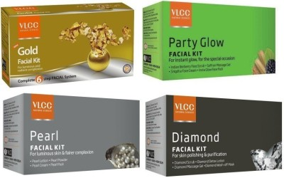 VLCC Facial combo : Diamond Facial, Gold Facial, Pearl Facial, Party Glow Facial Herbal & Ayurvedic 36.41 g