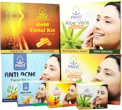 Pavo Facial Kit Gold & Aloe Vera & Papaya & Anti Ance - Combo 1197 g