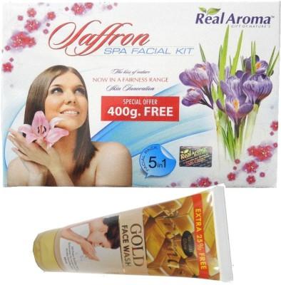 BIGSALE786 Real Aroma Saffron Spa Facial Kit 5 in 1 Free Asta Berry Neam & Aloe Face Wash 740 g