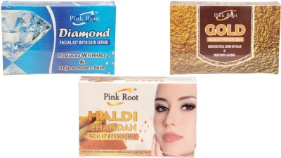 Pink Root Diamond Facial Kit,Gold Facial Kit,Haldi Chandan Facial Kit 210 g