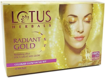 Lotus Herbal Radiant Gold Cellular Glow Facial Kit 37 g(Set of 4)