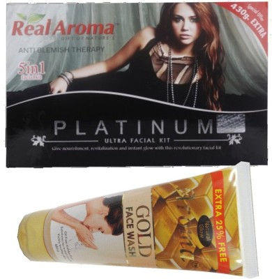 BIGSALE786 Real Aroma Platinum Ultra Facial Kit 5 in 1 Free Aroma Gold Face Wash 740 g