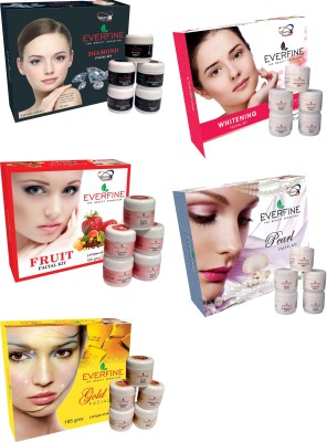 Everfine Everfine Fruit185gm, Gold185gm, Diamond185gm,nd185gm, Peral195gm, Whithening185gm Facial Kit 925 g