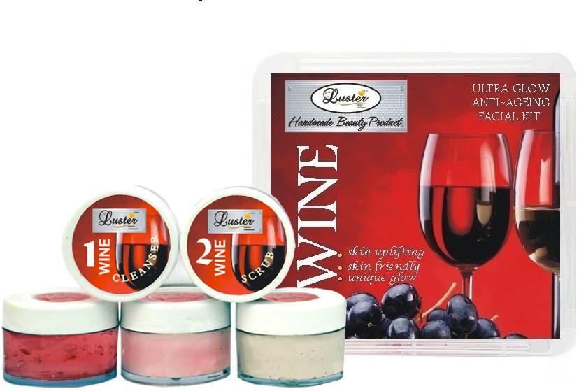 Luster Wine Facial kit (Skin Rejuvenating & Anti-Ageing) 150 g(Set of 7)