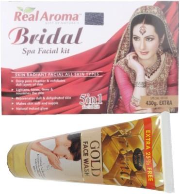 BIGSALE786 Real Aroma Bridal Spa Facial Kit 5 in 1 Free Aroma Gold Face Wash 740 g