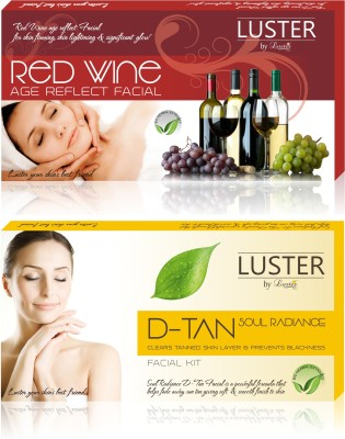 Luster Red Wine & Soul Radiance D-TAN Facial Kit (New Pack) 290 g