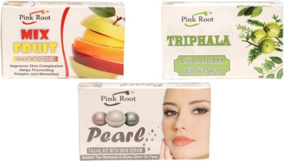 Pink Root Mix Fruit Facial Kit, Triphala Facial Kit,Pearl Facial Kit 210 g