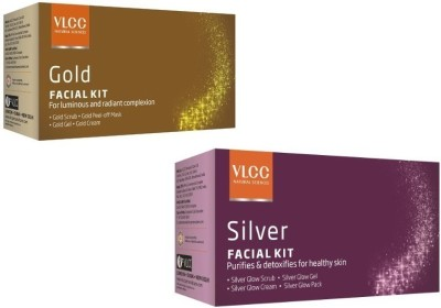 VLCC Gold And Silver Facial Kit with Cleanser, Toner, Scrub, Gel, Cream, Mask Herbal & Ayurvedic 60 g