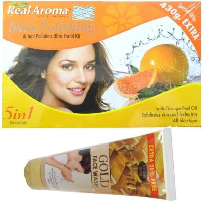 BIGSALE786 Real Aroma Skin Plishing Facial Kit 5 in 1 Free Asta Berry Orange Face Wash 740 g