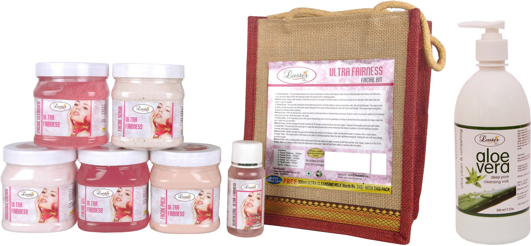 Luster Ultra Fairness Facial Kit - Eco Pack 2600 ml(Set of 7)