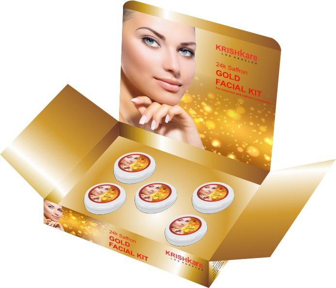 Krishkare 24k Saffron Gold Facial Kit 250 g(Set of 5)
