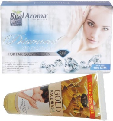 BIGSALE786 Real Aroma Diamond Facial Kit 5 in 1 Free Aroma Gold Face Wash 740