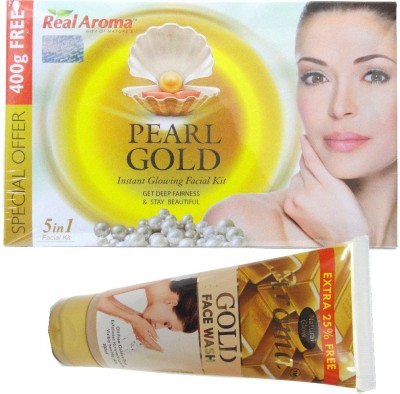 Real Aroma Pearl Gold Facial Kit 5 in 1 710 g