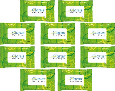 Clarus Wet Wipes Lime 10 Pulls Pack of 10