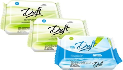 DUFT REFRESHING ALOE VERA & CUCUMBER PACK OF 3 and REJUVENATING AQUA FACIAL WET WIPES