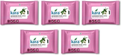 Kara Refreshing Facial Wipes - Aloe Vera & Cucumber (10 wipes per pack)-Pack of 5