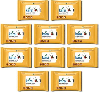 Kara Sunscreen facial Tissue- Plum & Aloe Vera (25 wipes per pack)- Pack of 10