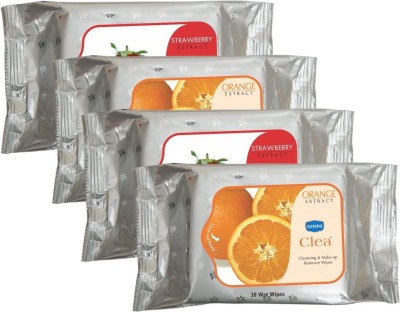 GINNI Cleansing & Refreshing Facial Wipes 2 Orange & 2 Strawberry (30 wipes in each pack)