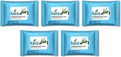 Kara Refreshing Facial Wipes - Aloe Vera & Mint (20 wipes per pack)-Pack of 5