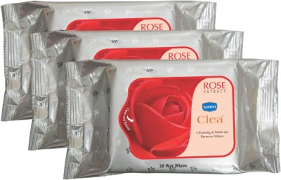 GINNI Refreshing Facial Wet Wipes-Rose(pack of 3)(30 wipes per pack)