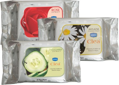 GINNI Refreshing Facial Wet Wipes-Rose, Antiacne,Cucumber (pack of 3)(30 wipes per pack)