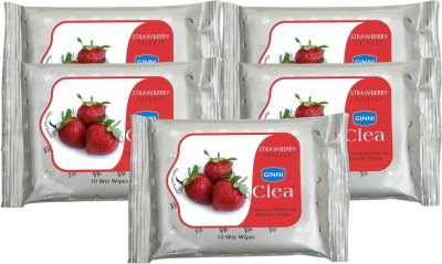 Ginni Refreshing & Facial Wipes (Strawberry) (pack of 5) (10 wipes per pack)