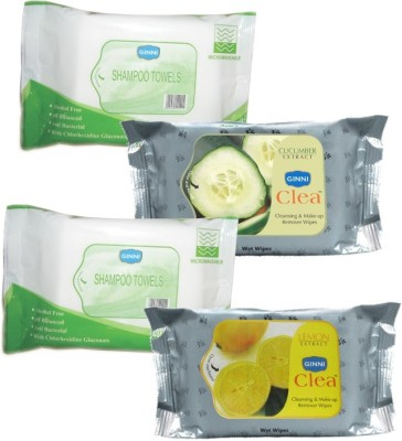Ginni Combo Of 2 Shampoo Towel (10 Towels Per Pack), Facial Wipes (Cucumber,Lemon) (30 Wipes Per Pack)