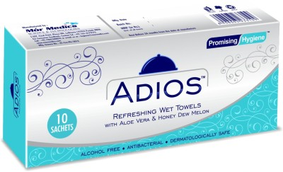 Adios Refreshing Wet Wipes With Aloe Vera & Honey Dew Melon ( 10 Piece Individually Packed) - Pack Of 5.