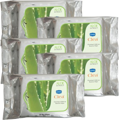 GINNI Cleansing & Refreshing Facial Wipes (Aloevera) (pack of 5) (30 wipes per pack)