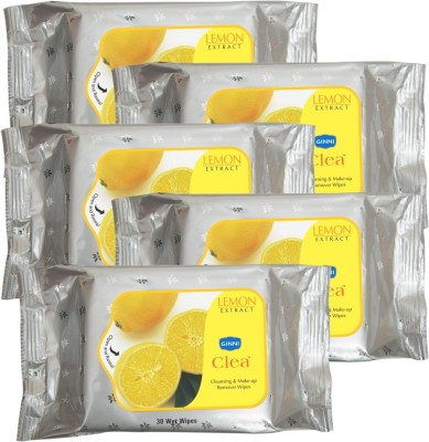 GINNI Cleansing & Refreshing Facial Wipes (Lemon) (pack of 5) (30 wipes per pack)