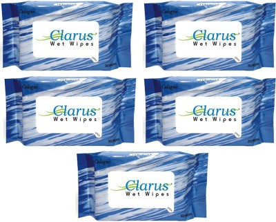 Clarus Wet Wipes Cologne 30 Pulls Pack of 5