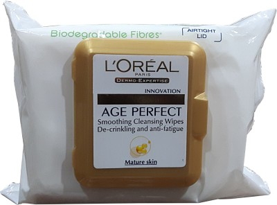 L,Oreal Paris Age Perfect Smoothing Cleansing Wipes(Pack of 1)