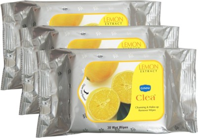 GINNI Refreshing Facial Wet Wipes-Lemon(pack of 3)(30 wipes per pack)