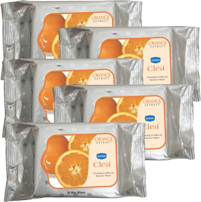 GINNI Cleansing & Refreshing Facial Wipes (Orange) (pack of 5) (30 wipes per pack)