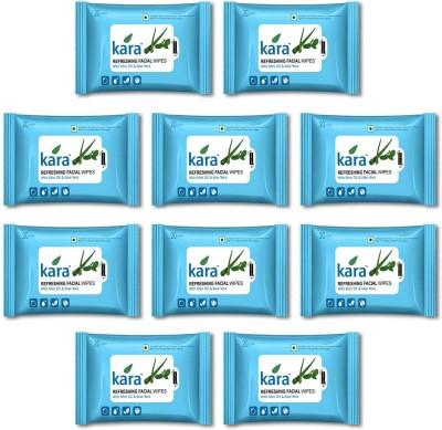 Kara Refreshing Facial Wipes - Aloe Vera & Mint (20 wipes per pack)-Pack of 10