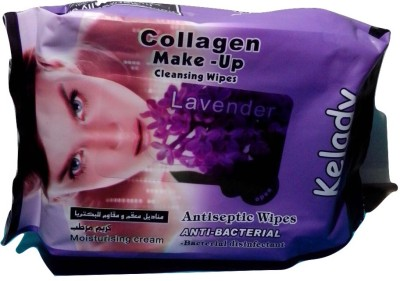 KELADY COLLAGEN MAKE UP CLEANING WIPES(Pack of 25)